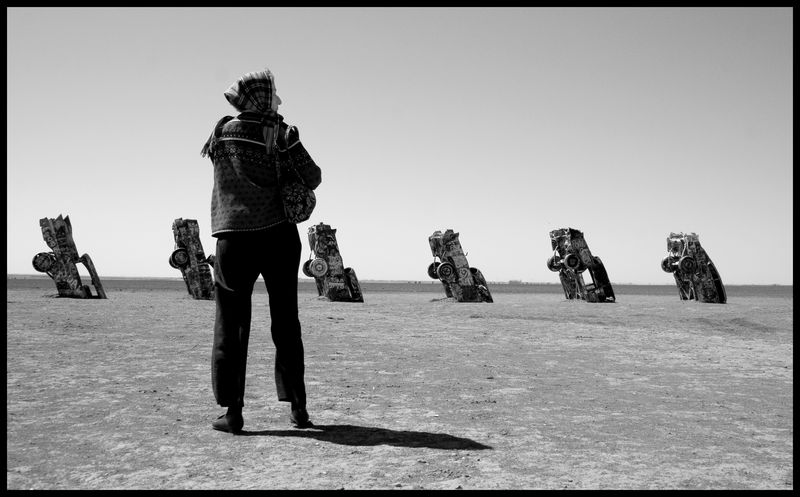Mary at the Cadillac Ranch, Texas